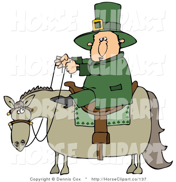 Clip Art of a Saint Patricks Day Leprechaun Man in Green, Riding on a Chubby Horse