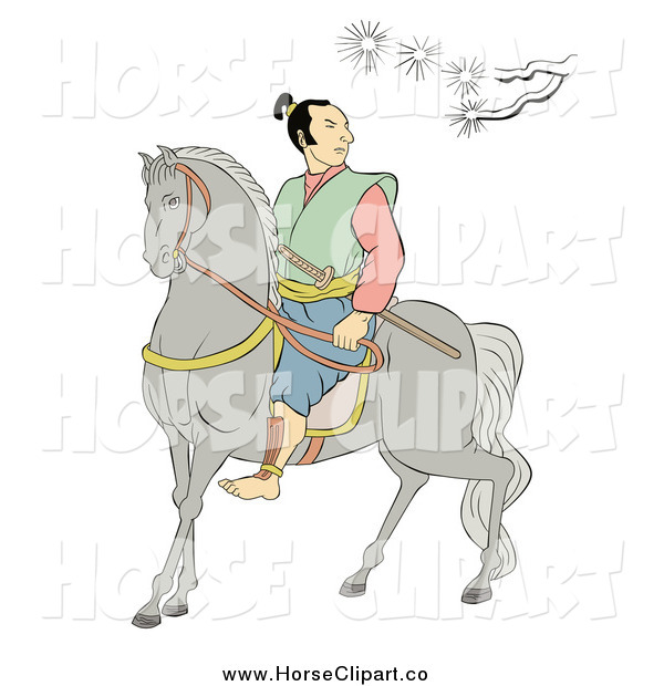 Clip Art of a Samurai Warrior on Horseback, Under a Branch