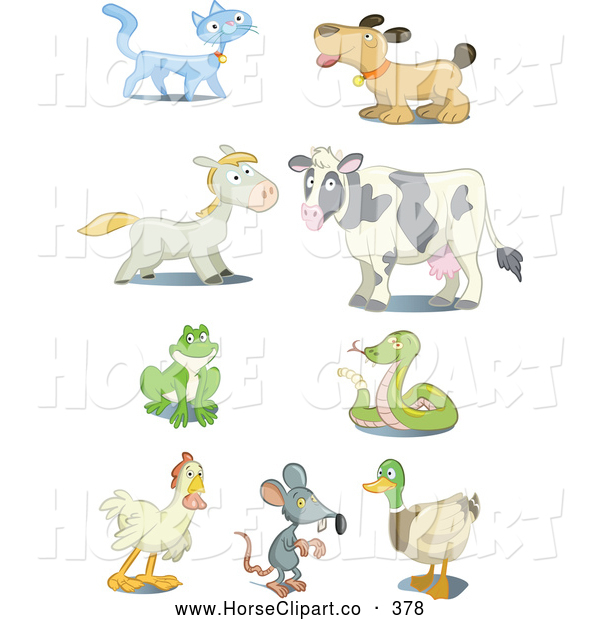 Clip Art of a Set of Nine Cat, Dog, Horse, Cow, Frog, Snake, Rooster, Mouse and Mallard Icons