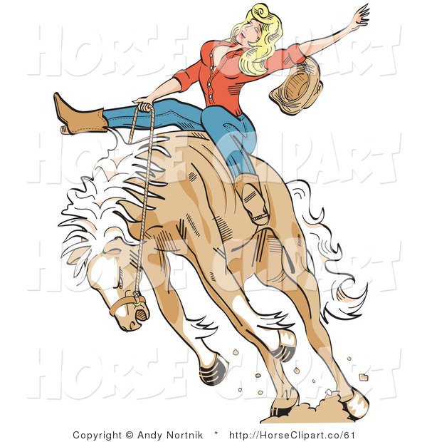 Clip Art of a Sexy Blonde Cowgirl Riding a Bucking Bronco Horse in a Rodeo