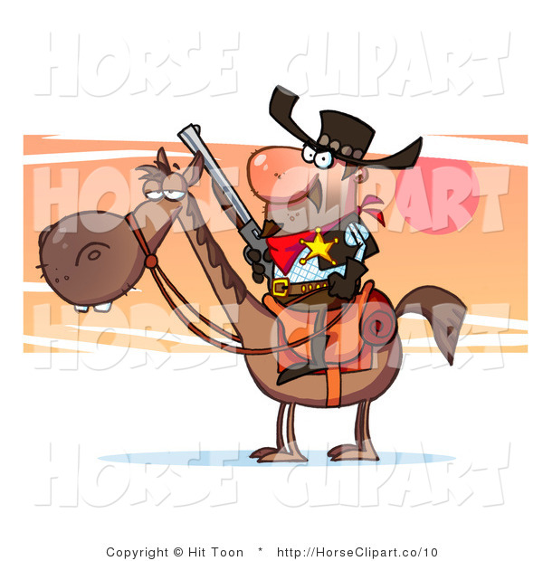 Clip Art of a Sheriff Horse and Cowboy