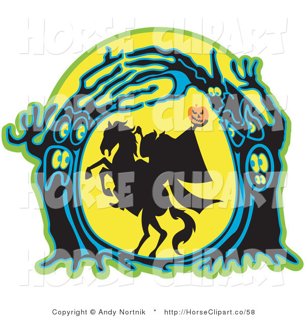 Clip Art of a Silhouetted Headless Horseman Holding His Pumpkin Head up High As His Horse Rears up in a Haunted Forest of Evil Trees