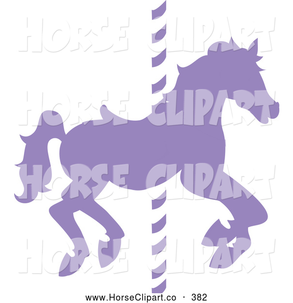 Clip Art of a Silhouetted Purple Carousel Horse on a Pole on White