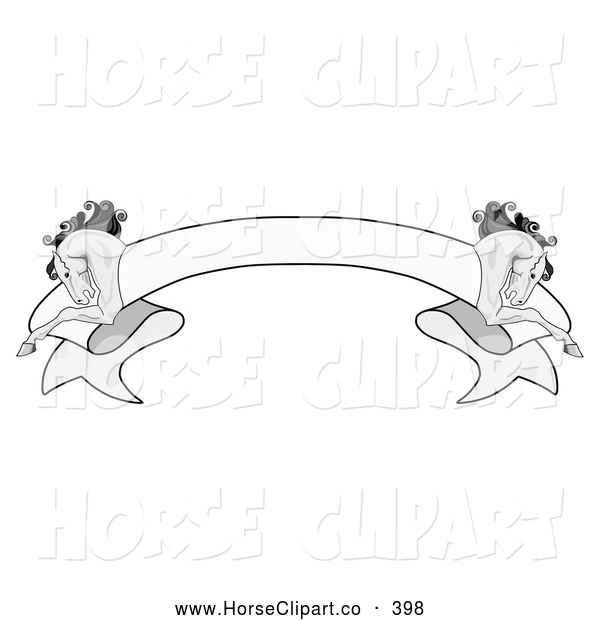 Clip Art of a Simple Grayscale Blank Ribbon Banner with a Running Horse on Each Side