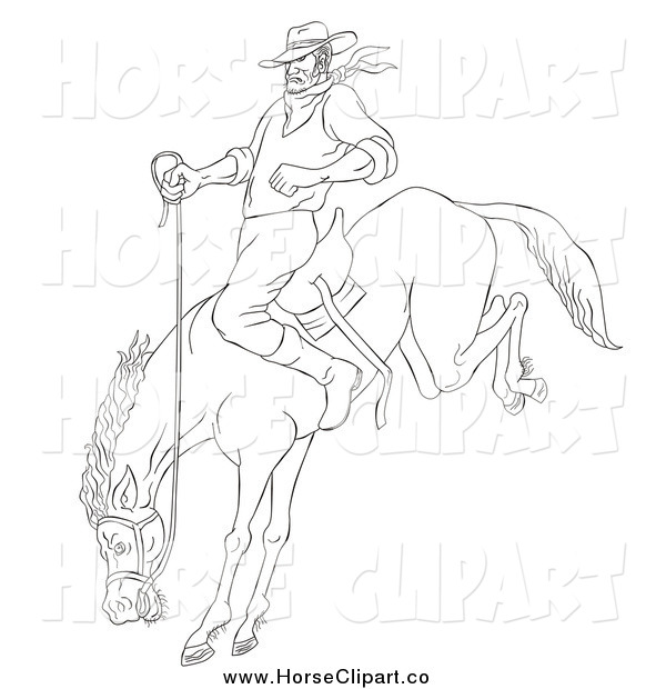 Clip Art of a Sketched Black and White Cowboy on a Bucking Bronco