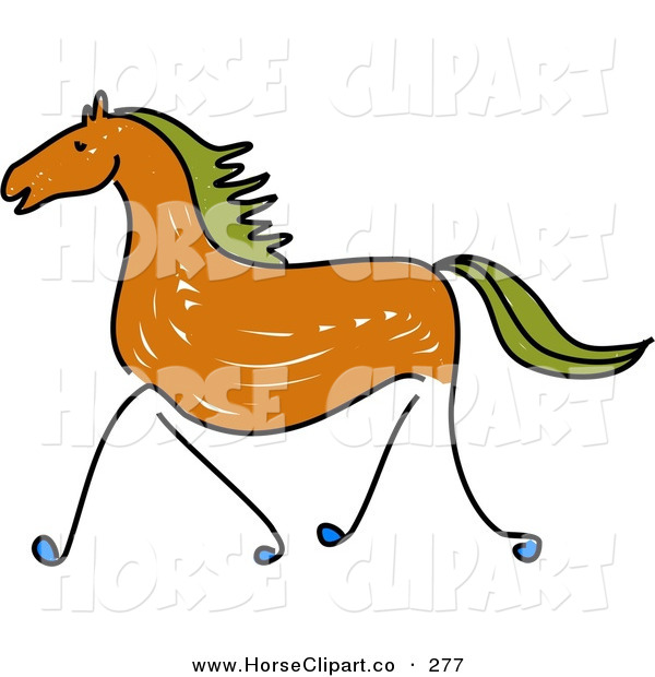 Clip Art of a Sketched Brown Galloping Horse with Green Hair on White