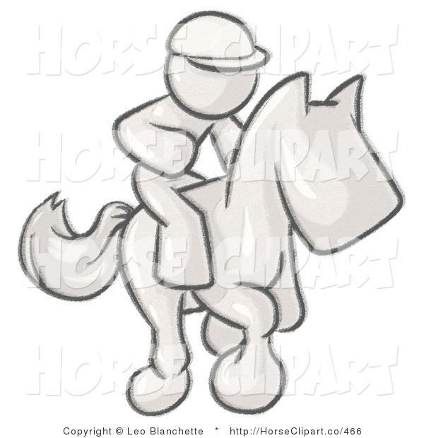 Clip Art of a Sketched Design Mascot Man, a Jockey, Riding Right on a Race Horse and Racing in a Derby