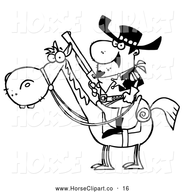 Clip Art of a Sketched Outlined Western Sheriff on a Horse, Holding a Long Pistol