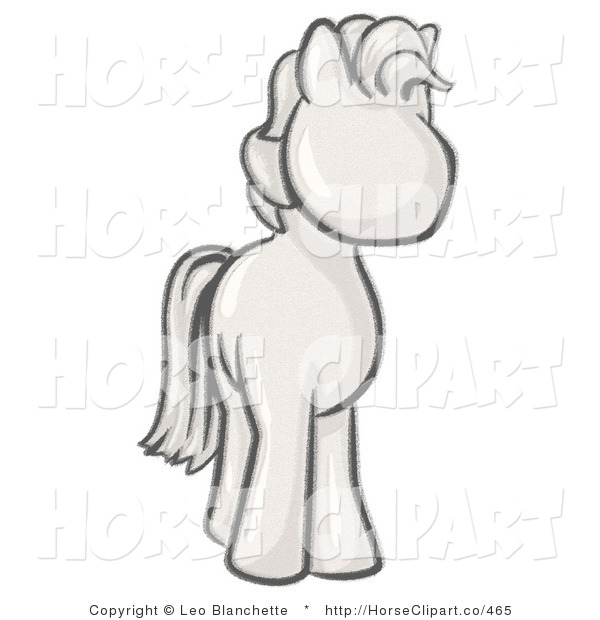 Clip Art of a Sketched Standing Pony Looking Slightly to the Right