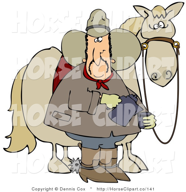 Clip Art of a Spooked Horse Standing Behind a Caucasian Cowboy Pouring a Cup of Coffee