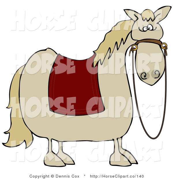Clip Art of a Spooked Light Horse with a Red Blanket over Its Back and Reins Hanging down from Its Face