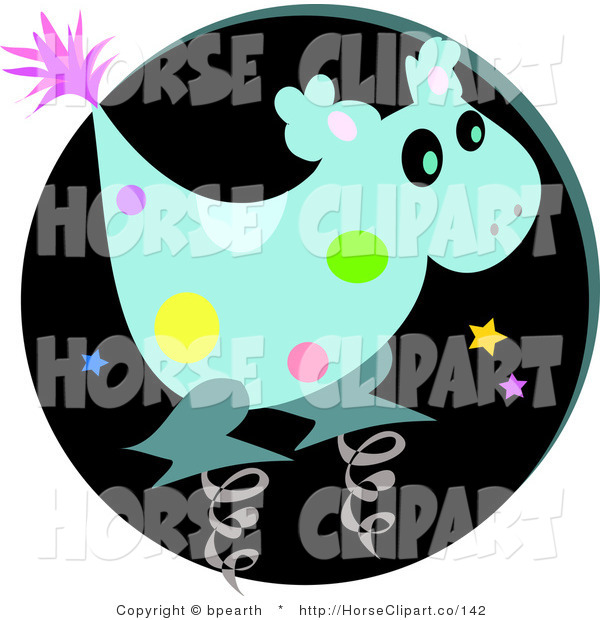 Clip Art of a Spotted Blue Alien Spring Horse Toy Character Against a Black Circle