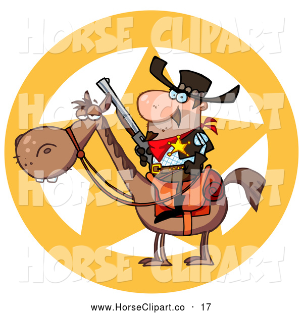 Clip Art of a Star Behind a Sheriff on Horseback