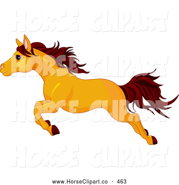 Clip Art of a Strong Leaping Butterscotch Colored Horse in Profile