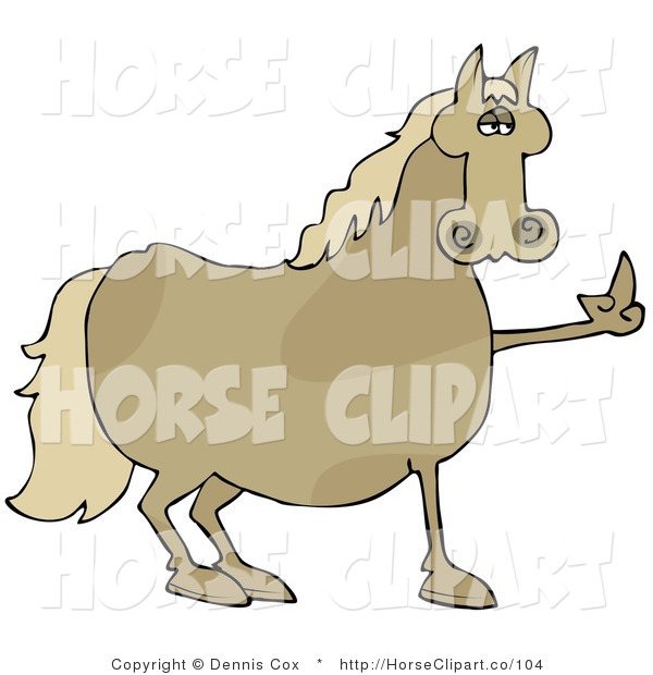 Clip Art of a Stubborn Brown Horse Flipping off a Farmer