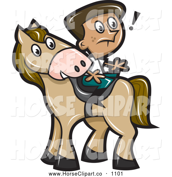 Clip Art of a Surprised Boy Sitting Backwards on a Horse