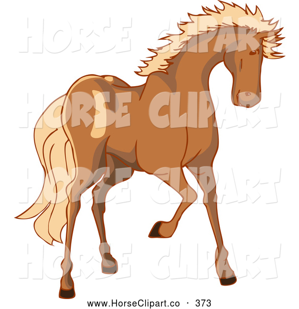 Clip Art of a Tall Brown Horse with a Blond Mane