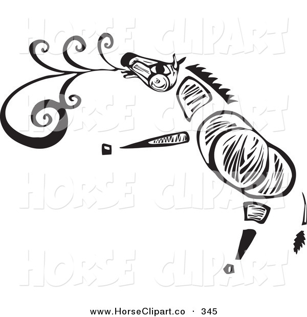 Clip Art of a Tribal Zebra Singing on a White Background