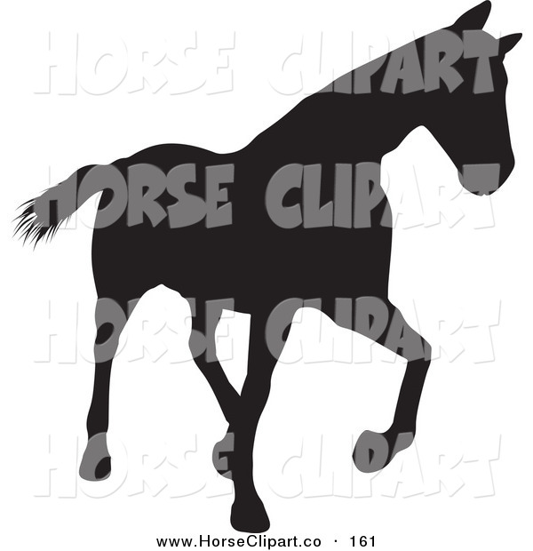 Clip Art of a Trotting Black Silhouetted Horse Walking Right