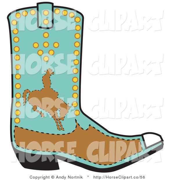 Clip Art of a Turquoise Boot of a Cowboy in Brown Silhouette, Riding a Bucking Bronco