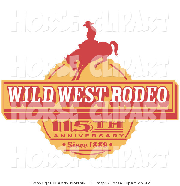 Clip Art of a Vintage Wild West Rodeo Advertisement with a Silhouetted Cowboy Riding a Bucking Bronco