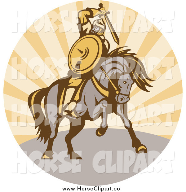 Clip Art of a Warrior Holding a Sword on Horseback