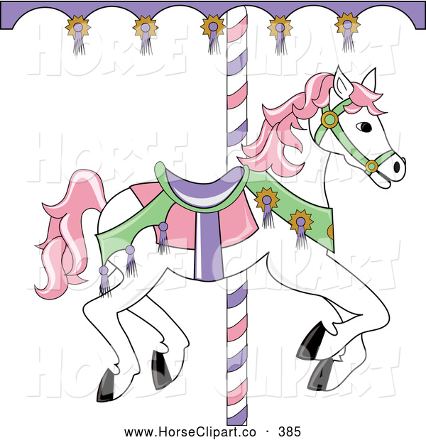 Clip Art Of A White Carousel Horse With Pink Hair On
