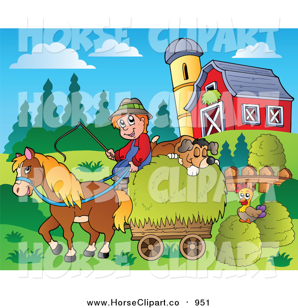 Clip Art of a White Farmer with a Horse and Dog Sleeping on Hay