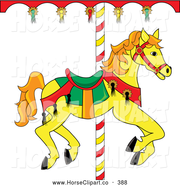 Clip Art of a Yellow Carousel Horse with Orange Hair Looking Right