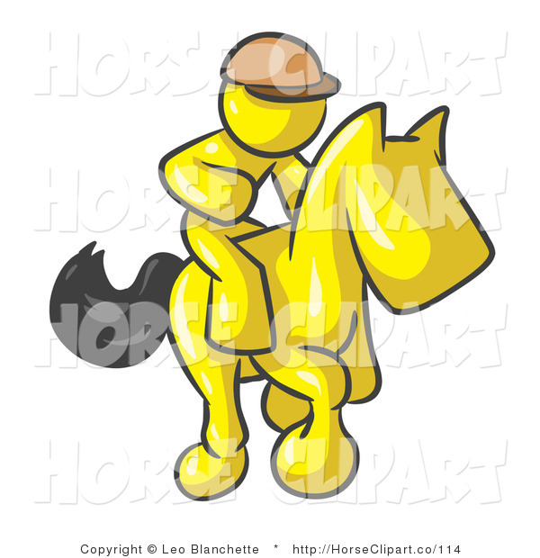 Clip Art of a Yellow Man, a Jockey, Riding on a Matching Race Horse and Racing in a Derby