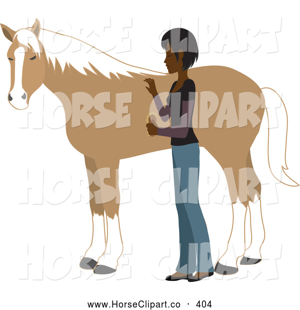 Clip Art of a Young Asian Indian Woman Grooming Her Pet Horse with a Brush