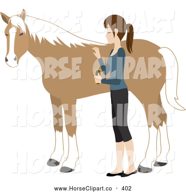 Clip Art of a Young Caucasian Woman Grooming Her Friendly Pet Horse with a Brush