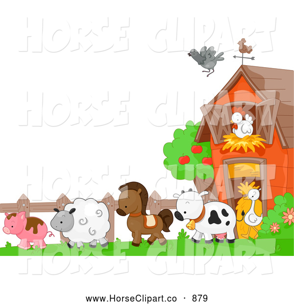 Clip Art of AHorse and Farm Animals in a Barnyard