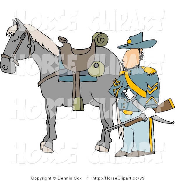 Clip Art of an Armed Union Soldier in His Uniform Standing Beside His Horse on a Battlefield