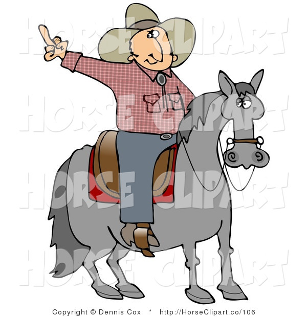 Clip Art of an Upset off Cowboy Sitting on a Saddle on a Horse, Flipping off Someone Behind Him