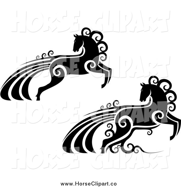 Clip Art of Black and White Horses with Swirls