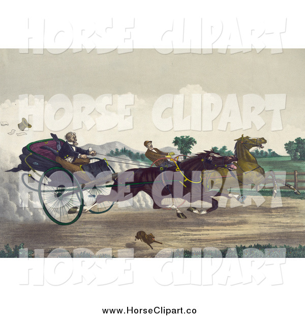 Clip Art of Competitive Men Racing Their Horses down a Street with a Dog Running Along the Side