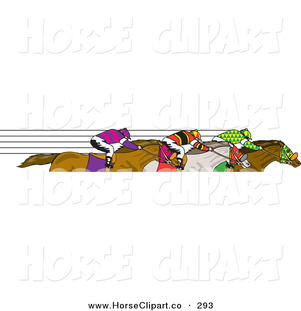 Clip Art of Fast Jockeys Speeding by on Their Horses on White