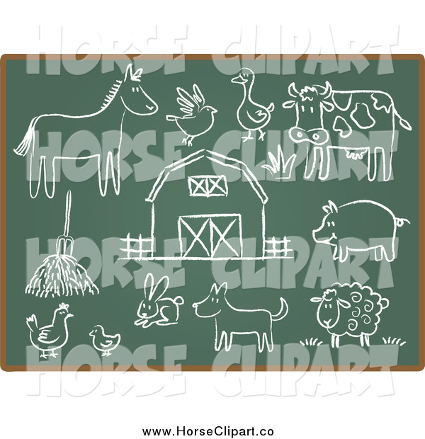 Clip Art of Horse and Chalkboard Sketch Icons