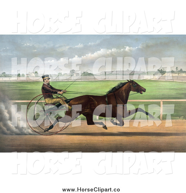 Clip Art of J. Bowen Trotting a Horse at Mystic Park in Medford, Massachusetts, June 28th 1872