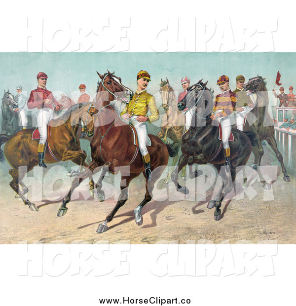 Clip Art of Jockeys on Horseback, Ready for a Race