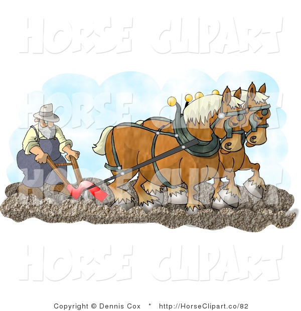 Clip Art of Two Belgian Horses Pulling a Farmer on a Plough