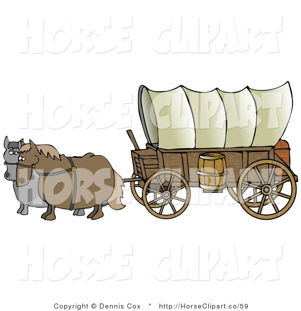 Clip Art of Two Horses, One Gray and One Brown. Pulling a Big Covered Wagon on the Oregon Trail