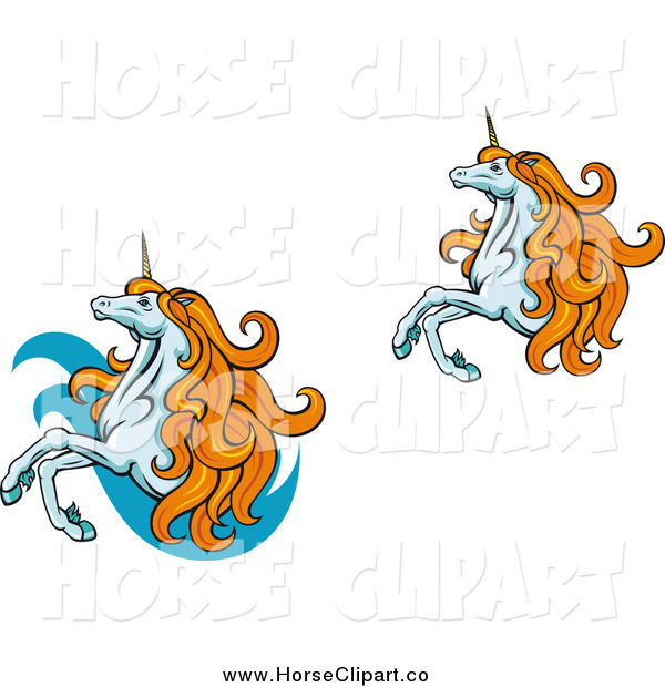 Clip Art of Two Rearing Unicorns with Orange Manes