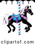 Clip Art of a Black Carousel Horse with White and Purple Hair on White by Pams Clipart