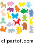 Clip Art of a Colorful Animal Silhouettes on Solid White by Alex Bannykh