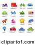 Clip Art of a Colorful Digital Collage of Various Modes of Transportation by NL Shop