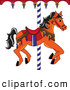 Clip Art of a Cute Orange Carousel Horse with Black Hair by Pams Clipart