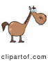 Clip Art of a Cute Short Brown Horse with a Long Neck by Hit Toon