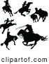 Clip Art of a Digital Collage of Black Cowboy and Horseback Riding Silhouettes by Pushkin